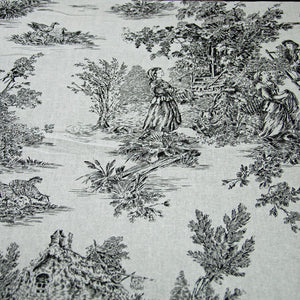 Classic French period black toile de jouy cotton fabric