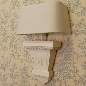 French White Slim Wooden Wall Light Complete With Shade