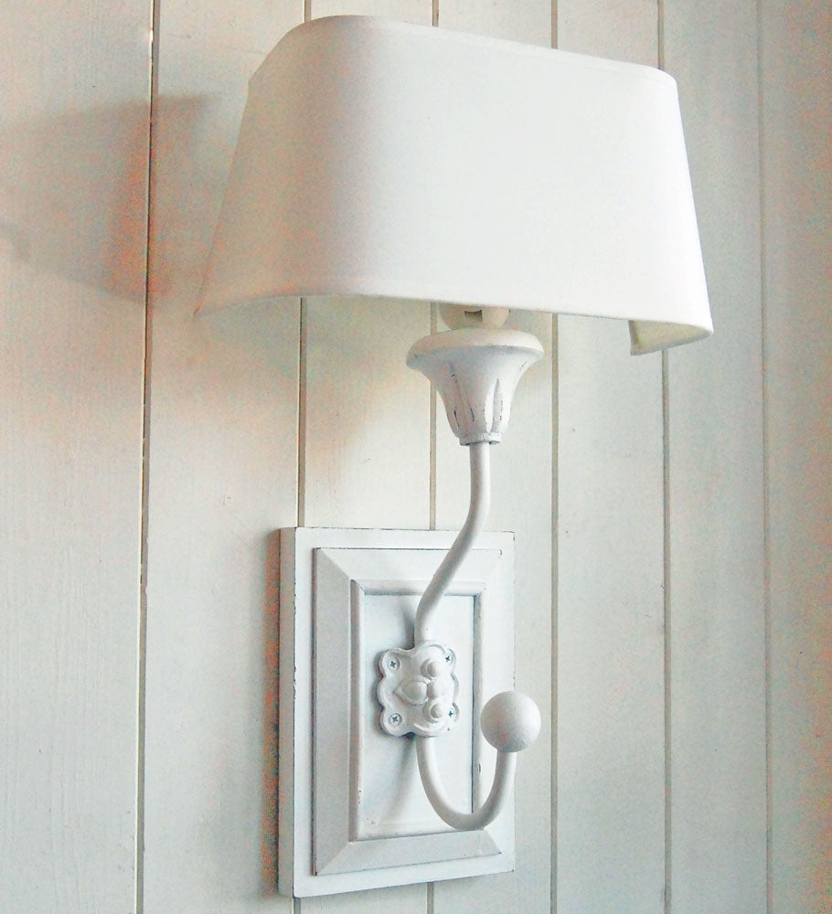 French white painted wooden peg wall light with half round shade
