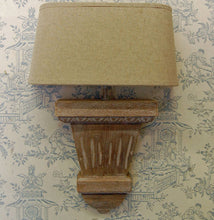 French slim wooden wall light sconce with half round shade.