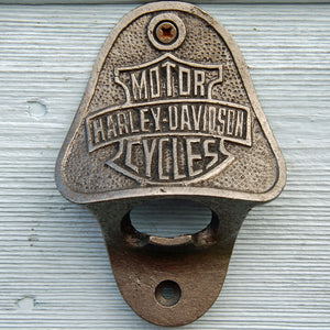 Harley Davidson motorbike vintage wall mounted beer bottle opener