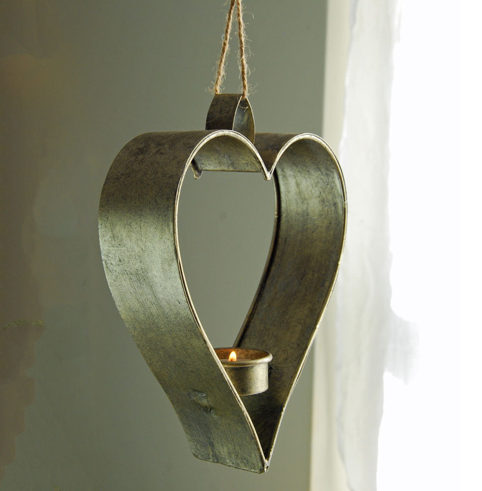 Silver heart tea light hanger