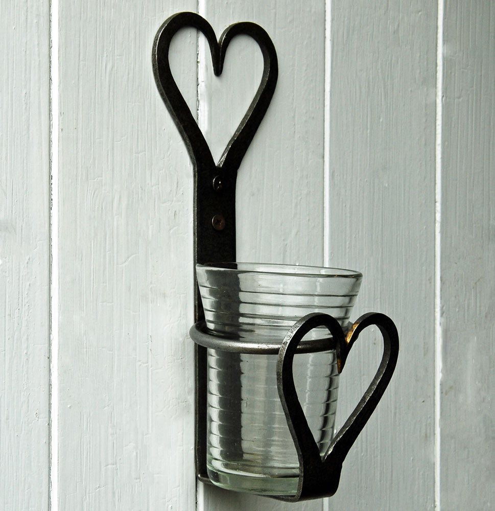 Corbridge wrought iron heart candle sconce