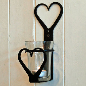 Wrought iron heart wall sconce tealight holder with glass votive