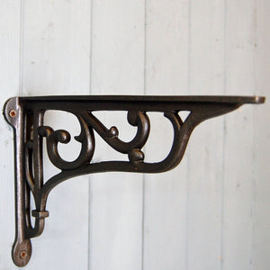 Hexham traditional ornate iron wall shelf bracket 225mm