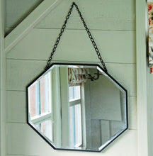 Petersham octagonal metal bevelled hanging wall mirror