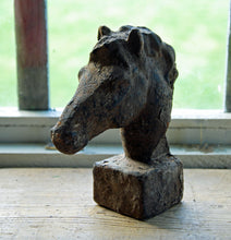 Antique style cast iron aged horse head portrait