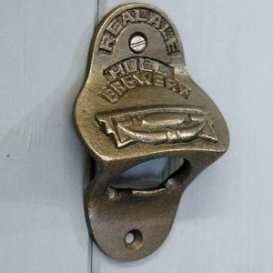 Wall mounted metal bottle opener vintage Hull Brewery design