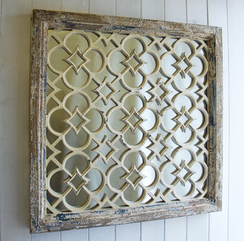 Jali fretwork rustic square wooden wall mirror