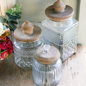 Small vintage Mendip glass storage jar