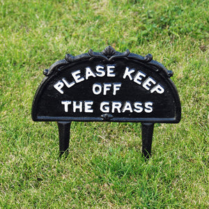 Classic black cast keep off the grass garden sign