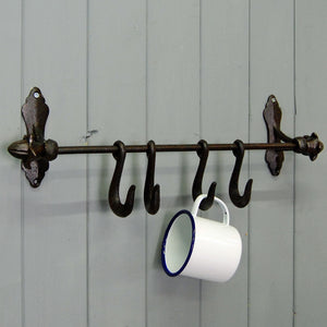 Vintage style wrought iron kitchen utensil hooks