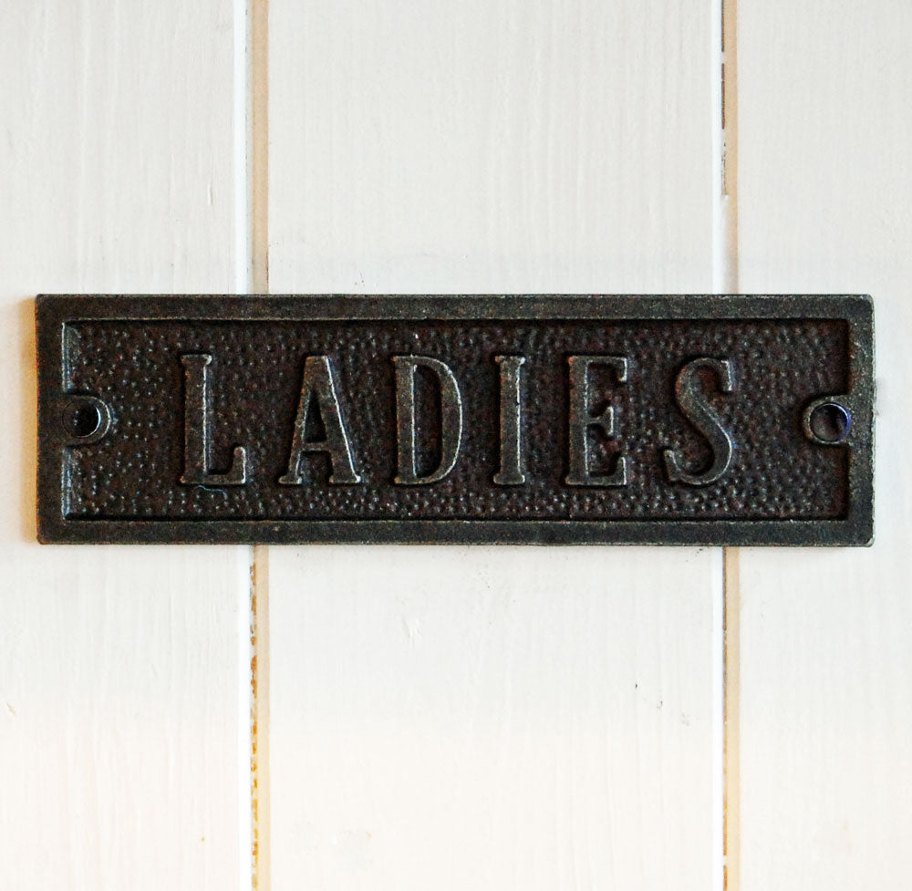 Ladies cast metal antique style metal door sign