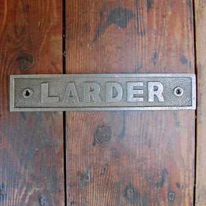 Traditional cast metal plate larder door sign.