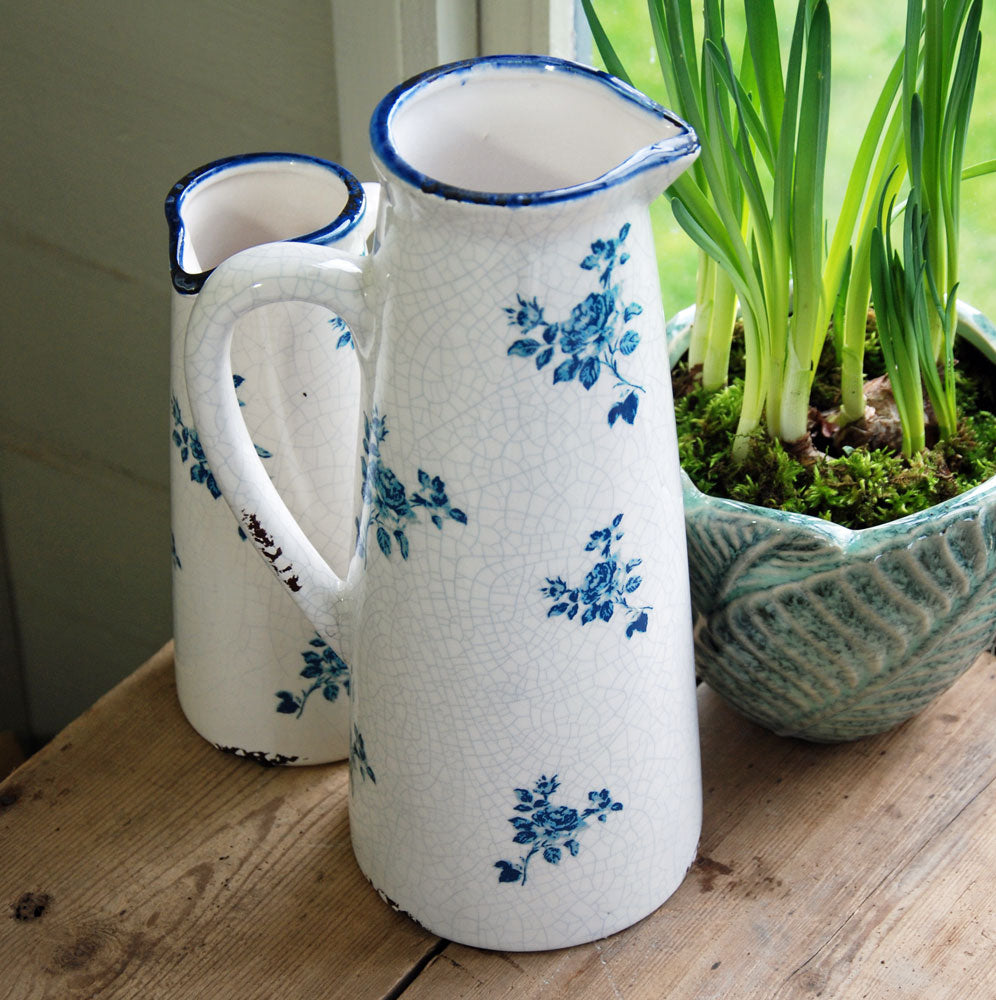 Vintage style stoneware blue antique rose jug