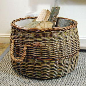 Large round Morpeth natural willow rope handled log basket