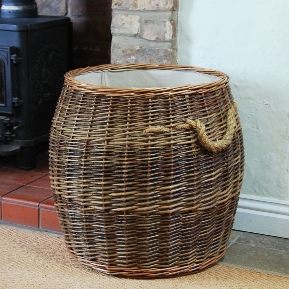 Large Morpeth barrel willow log basket