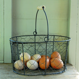Large Hereford Wire Kitchen Basket With Wooden Handle