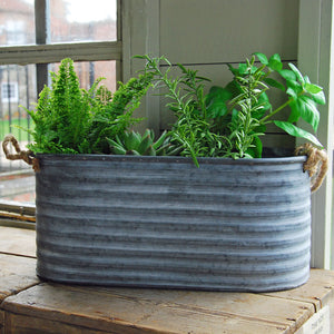 Large zinc metal Fenton trough planter