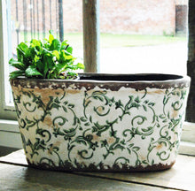 Large Hampton green floral ceramic oval planter