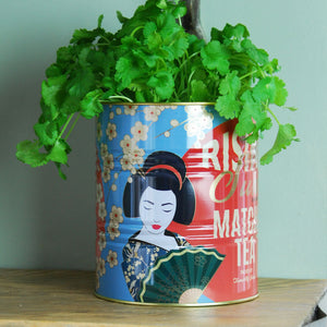 Large Rising Sun tea kitchen planter tin