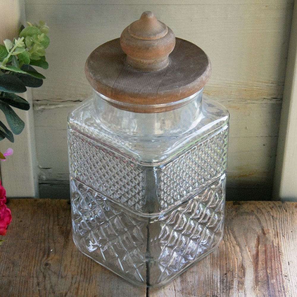 Large Mendip vintage square glass storage jar