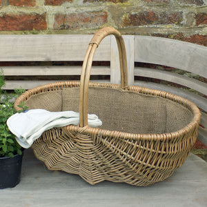 Large Heathfield willow hessian lined garden trug basket