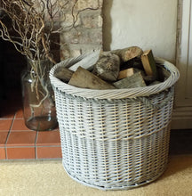 Large round Copenhagen hessian lined log basket with rope handles