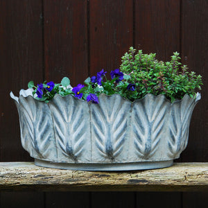 Victoriana large oval metal leaf garden planter
