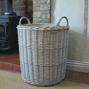Large Provence tall washed willow log basket