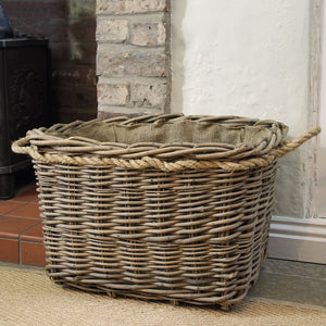 Large mill log basket rope handled deep set rectangular hessian lined