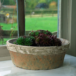 Large clay shallow flat white stone plant bowl