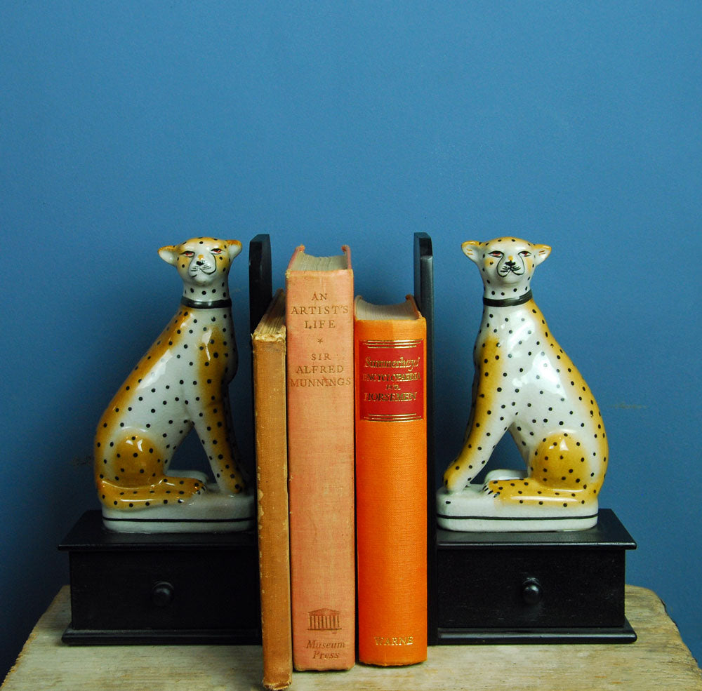 Pair porcelain leopard bookends