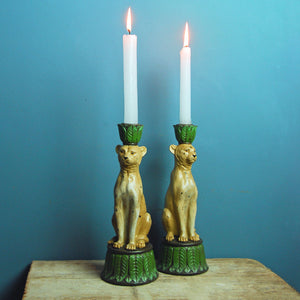 Antique style leopard candleholder
