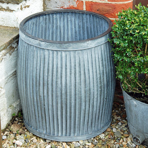 Antique design galvanised dolly planter