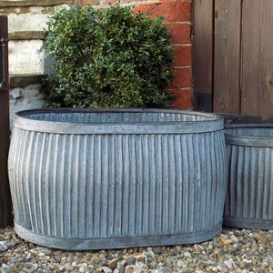 Large antique design galvanised oval dolly planter tub