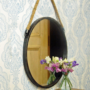 Dark grey vintage design round mirror with rope hanger