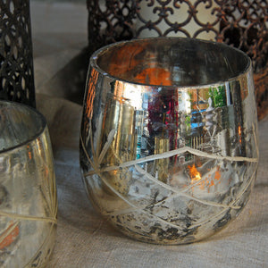 Danish silver glass tea light holder