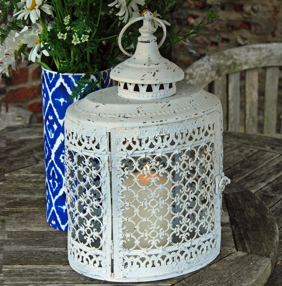 Vintage white oval filigree candle lantern