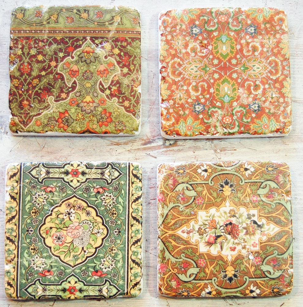 Set of 4 vintage design liberty style print cork backed drinks coasters.