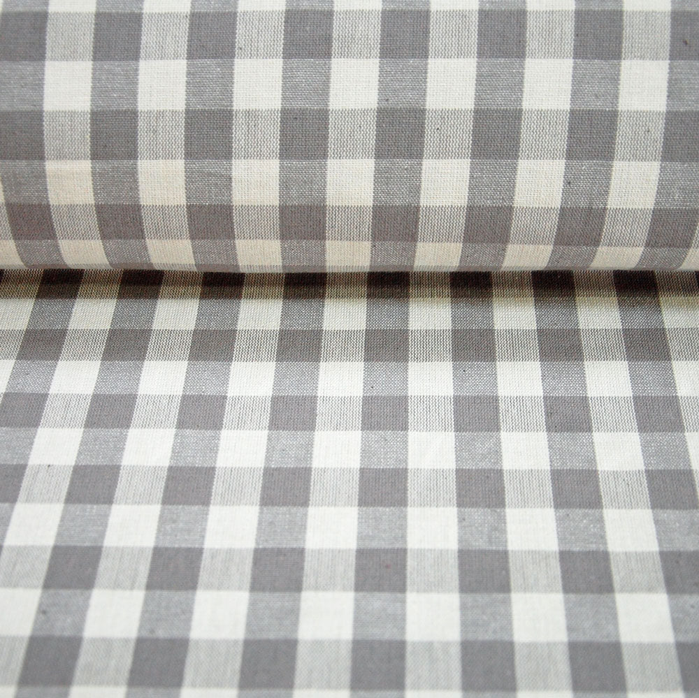 Lechlade grey gingham cotton fabric