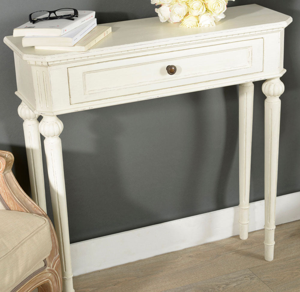 French vintage style white narrow Lille console table