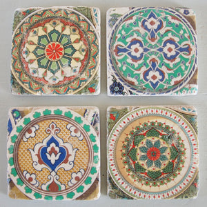 Set of 4 vintage tile drinks coasters