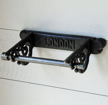 Antique design cast metal London wall mounted toilet roll holder
