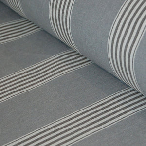 Traditional cotton herringbone grey march stripe fabric