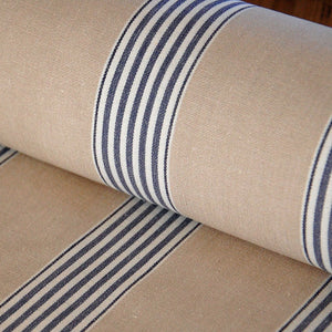 Traditional cotton herringbone buff march stripe fabric