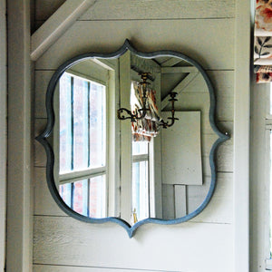 Tangier dark grey metal wall mirror
