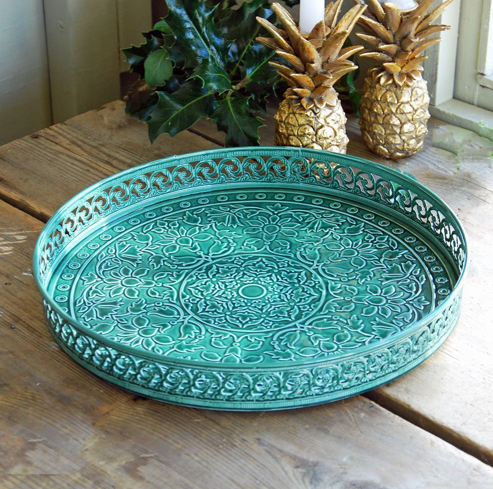 Round green glazed metal Fez drinks tray