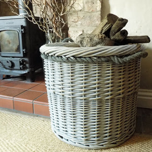 Medium Copenhagen hessian lined willow log basket with rope handles