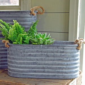 Long zinc metal Fenton trough planter
